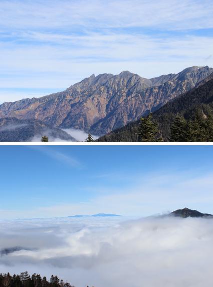 眼前に広がる雲海と北アルプスの山々