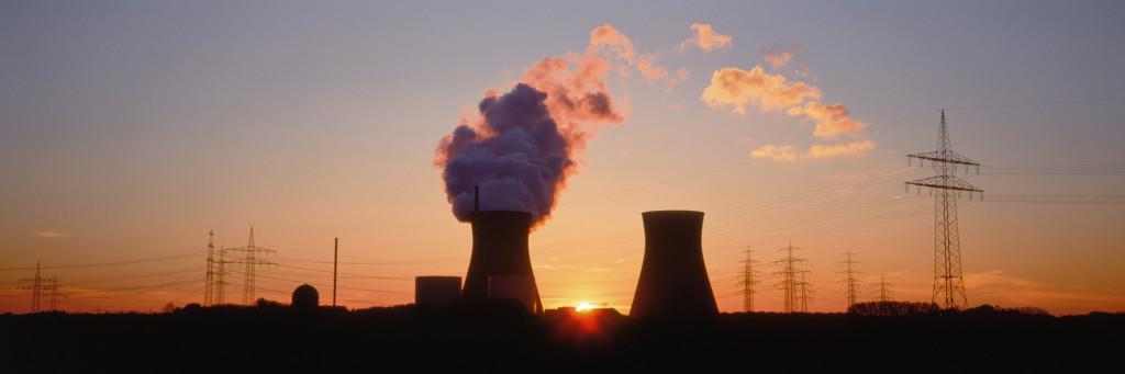Nuclear power station at dusk