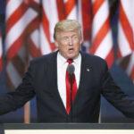 2016年7月の米共和党党大会で演説するトランプ氏。【写真】共同通信社