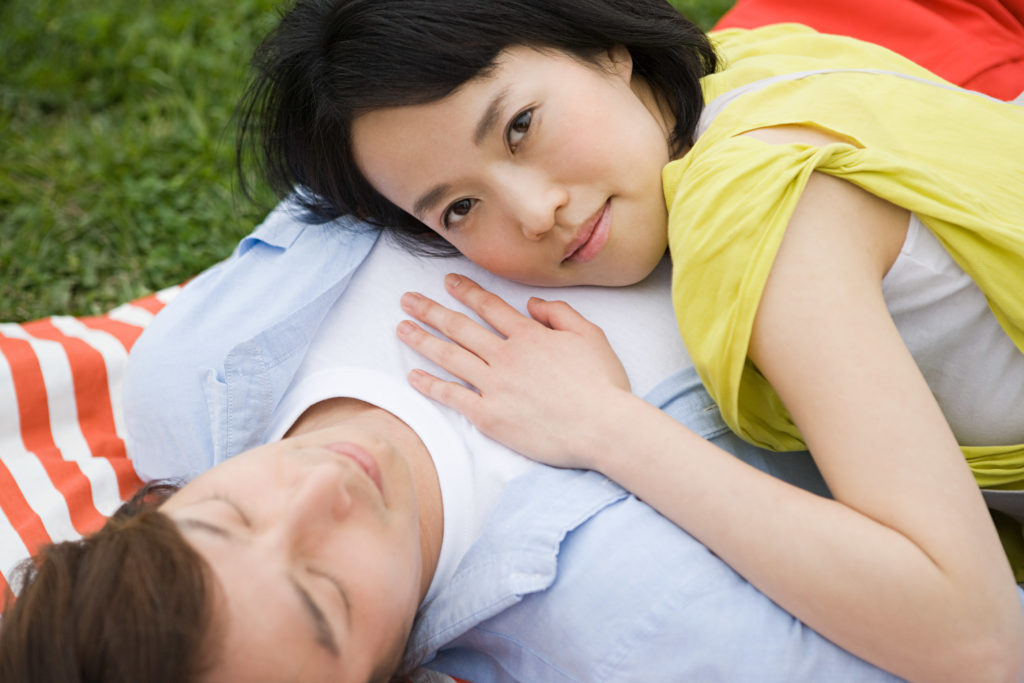 Young woman lying on boyfriend