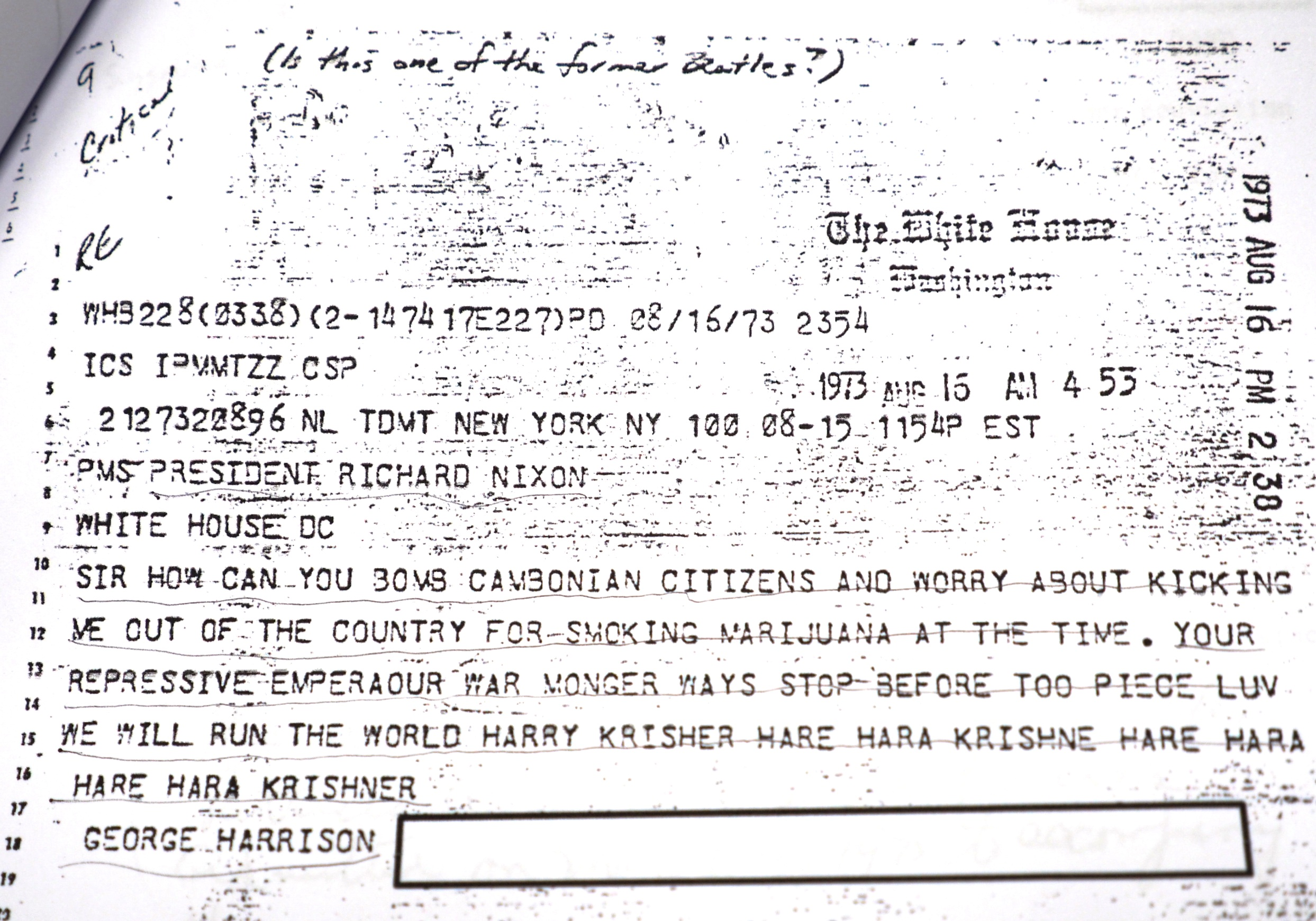 ジョージ・ハリスンがニクソン大統領に宛てて打った1973年8月16日付けの電報。