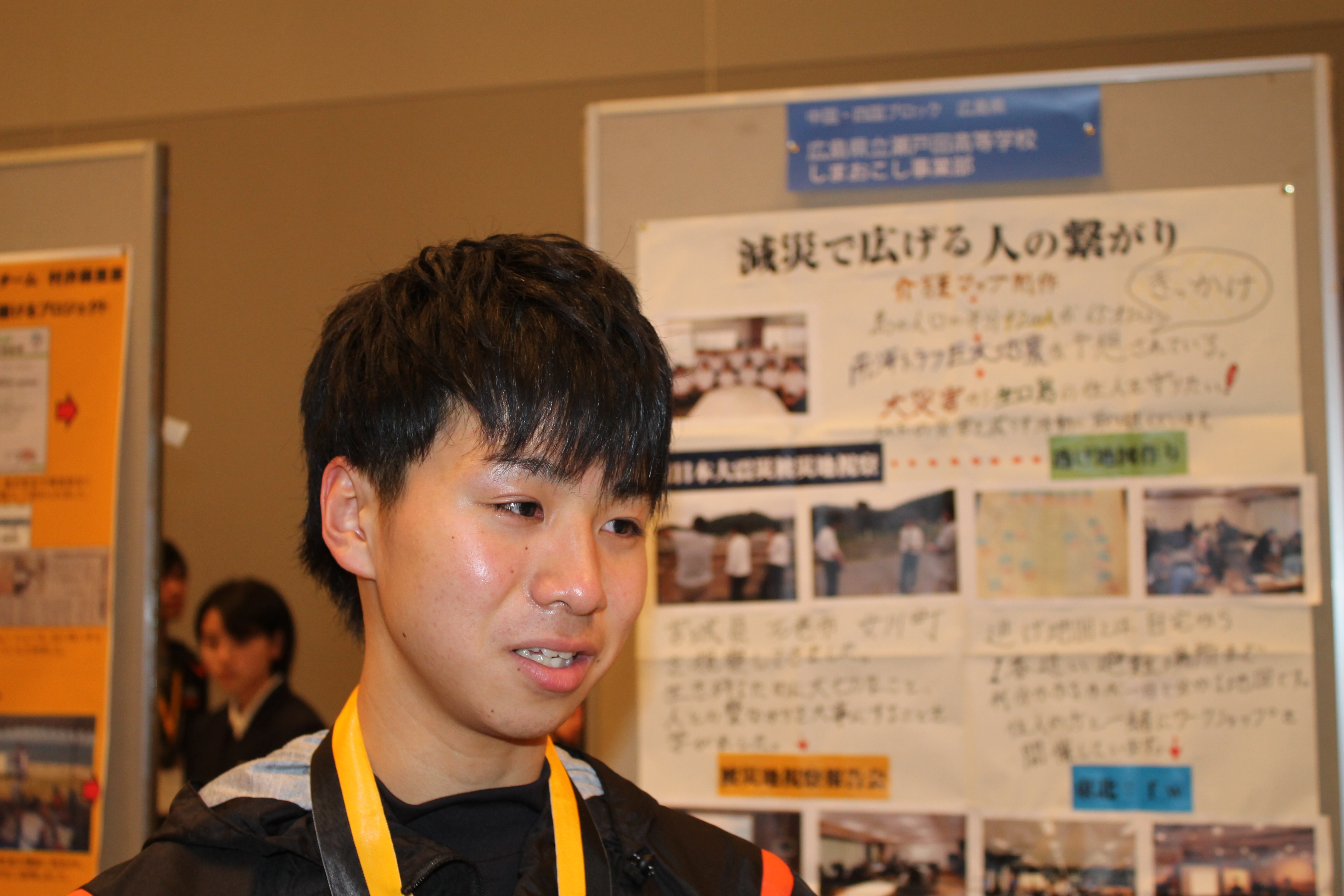 地域の人々や先生への感謝を口にする矢野佑太さん