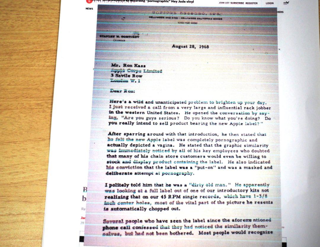 「インディペンデント電子版」2019年1月25日付が報じた、ビートルズの北米販売を司るキャピトル・レコードのスタンリー・ゴルツィコフ代表取締役がアップル・レコードの責任者であるロン・キャスに宛てた手紙。