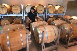 椀子で管理している樽は約200樽。温度帯の異なる2つの樽庫で、ワインの特性に合わせた育成を行っている。