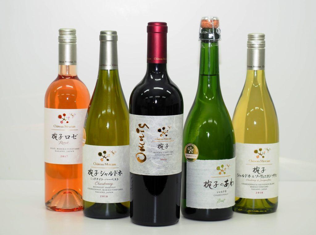 今回、取材陣が購入したワイン。左から「椀子ロゼ」、「椀子シャルドネ ミッドナイト・ハーベスト」(ワイナリー限定)、「椀子オムニス」、「椀子のあわ シャルドネ」(エリア限定)、「椀子シャルドネ&ソーヴィニヨン・ブラン」(エリア限定)。