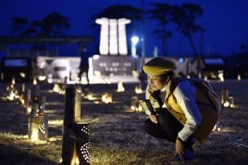 聖火到着待つ宮城・東松島 歓迎と鎮魂込めて竹あかり 画像1