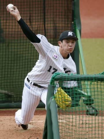 ロッテ佐々木朗、最速156キロ 打撃投手で初めて変化球も 画像1