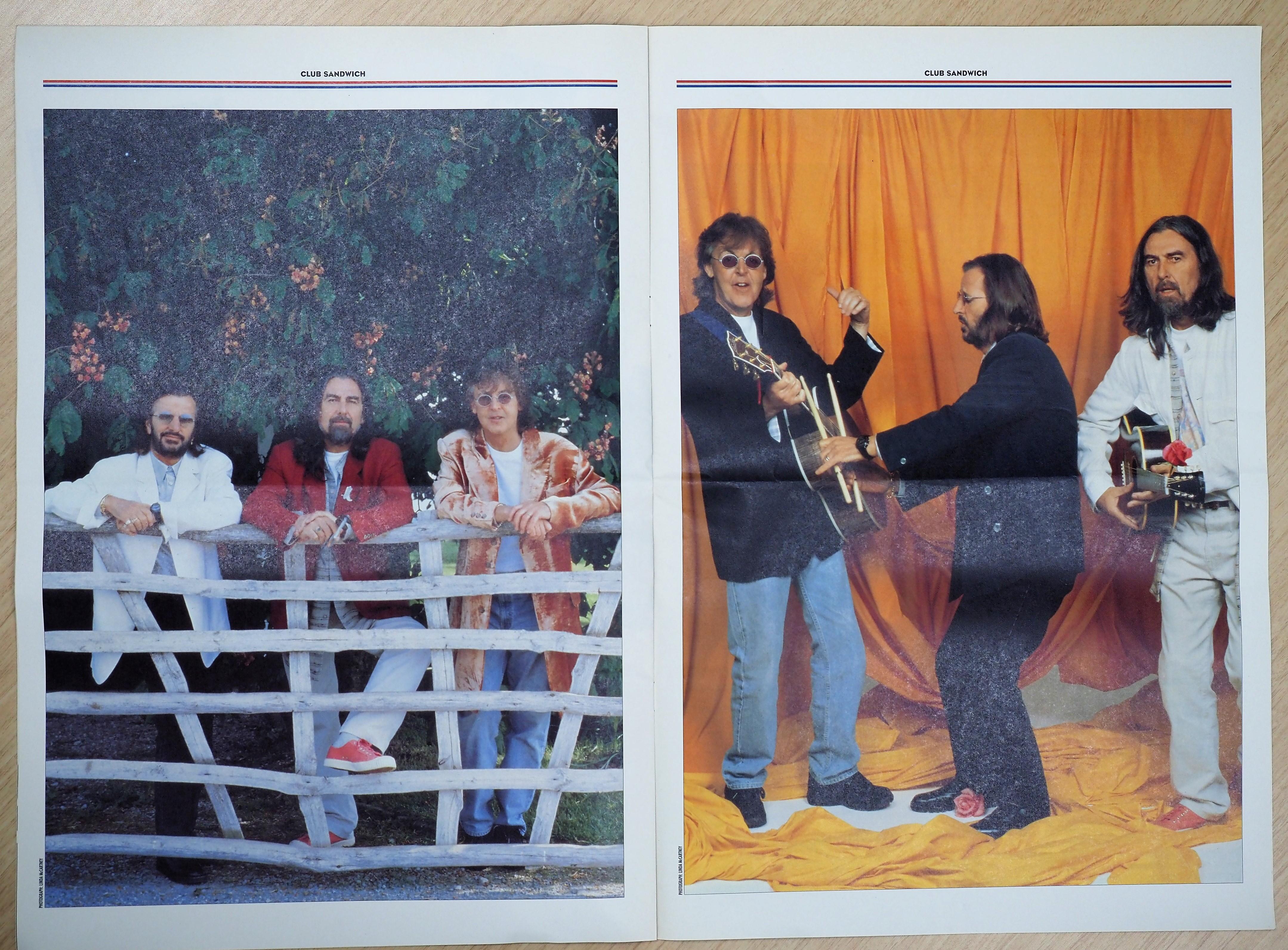 『クラブ・サンドイッチ』(1995年WINTER No76)に収められた、リンゴ、ポール、ジョージの写真。