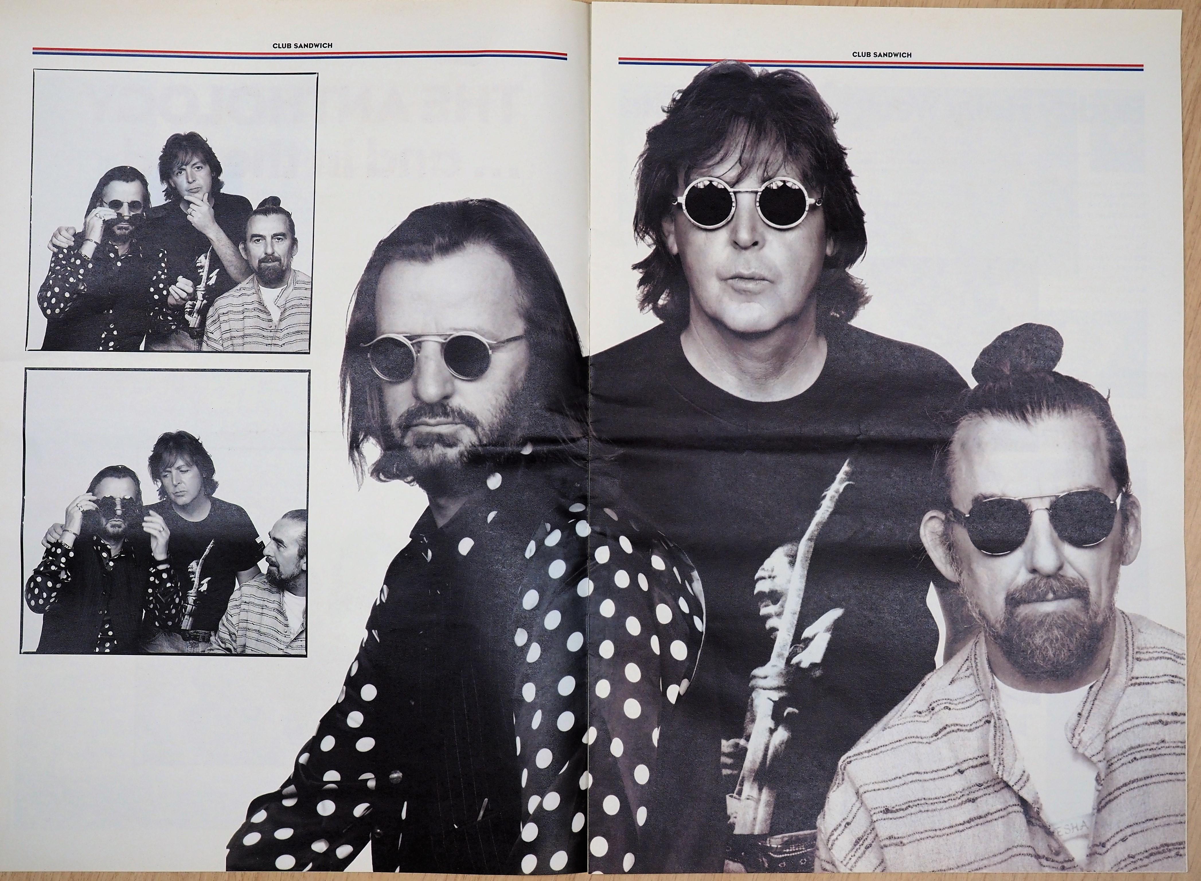 ポールのファンクラブ冊子『クラブ・サンドイッチ』(1996年AUTUMN No79)に収められた、リンゴ、ポール、ジョージの写真。