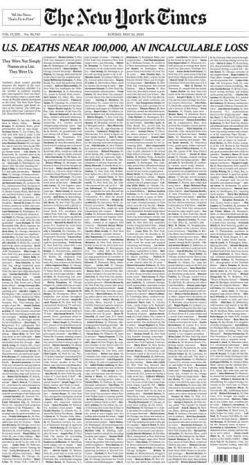 死者千人の名前、米新聞1面に NYタイムズ「彼らはわれわれ」 画像1