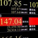 上げ幅が一時400円を超え、2万1000円台を回復した日経平均株価を示すモニター=26日午前、東京・東新橋