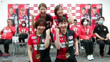 卓球、平野「応援が力になった」 日本生命がオンラインで優勝報告 画像1