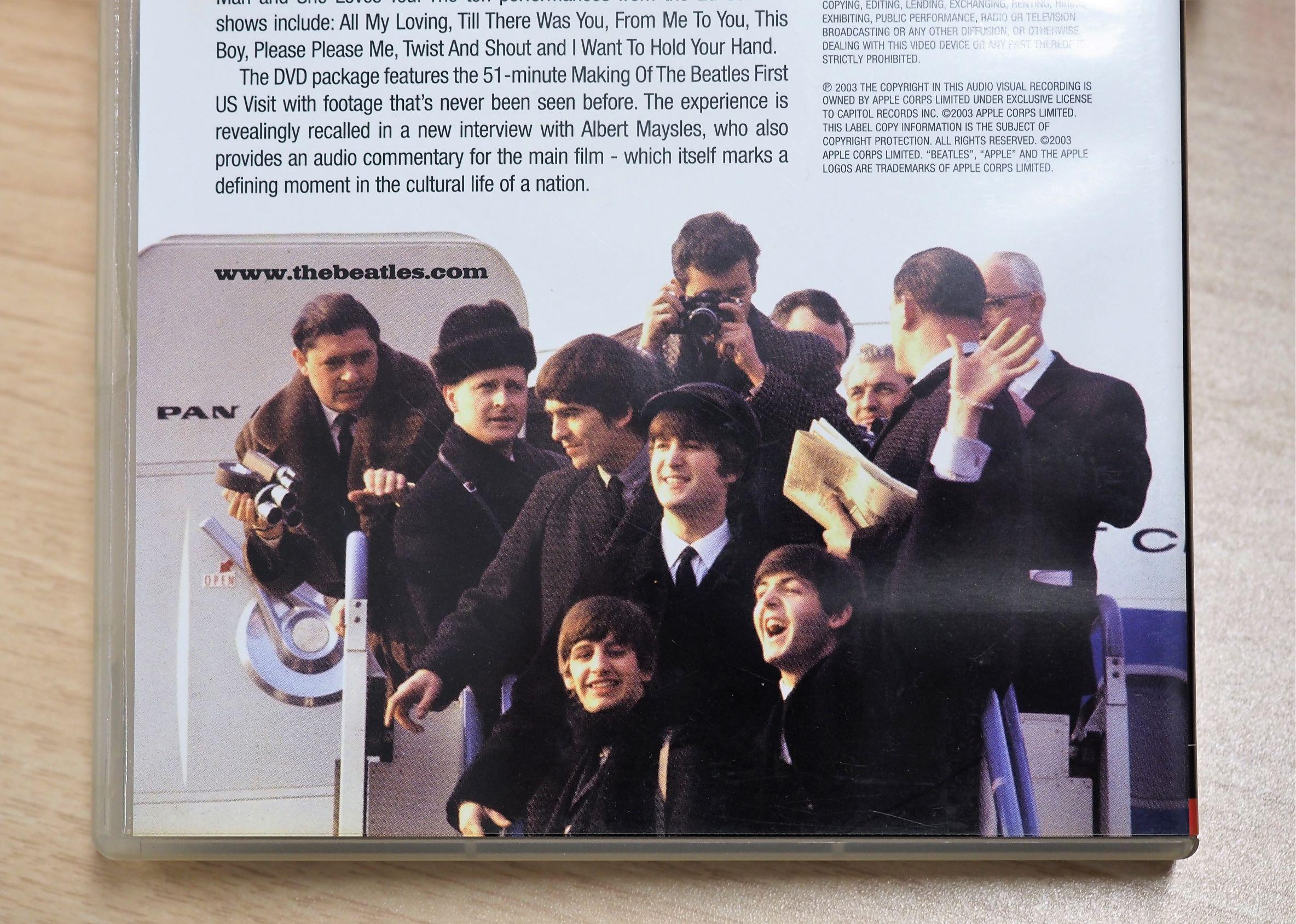 DVD『THE FIRST U.S. VISIT』(EMI)のジャケット裏面に載っているビートルズ初訪米時の写真。