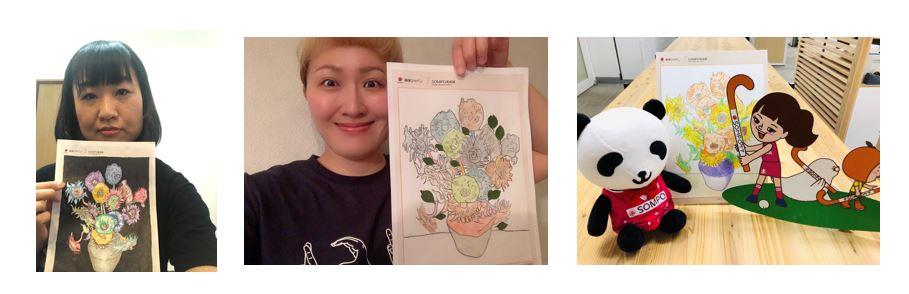 「ひまわりアート」プロジェクトでは、しずちゃんや丸山桂里奈さんも力作を披露