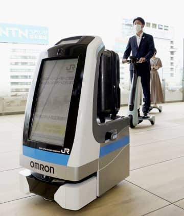 JR東が高輪新駅でロボット実験 消毒液散布、コーヒーサービスも 画像1