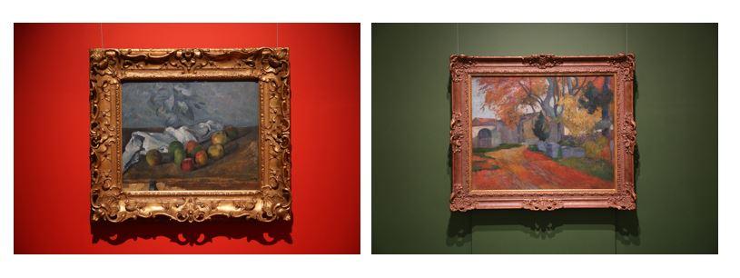 (左)《りんごとナプキン》 セザンヌ (右)《アリスカンの並木路、アルル》 ゴーギャン