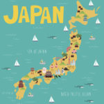 Illustration map of Japan with landmarks