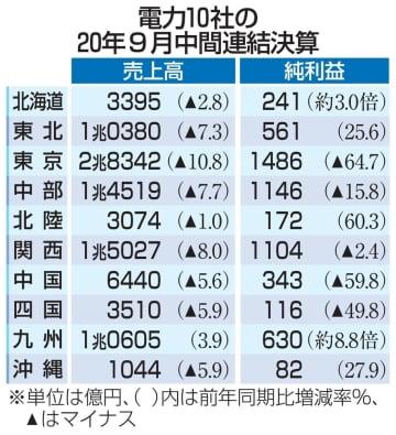 大手電力の売上高、9社が減収 販売落ち込み、5社減益 画像1