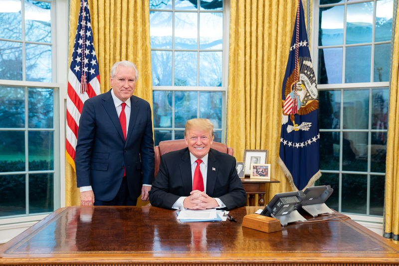 President Donald J. Trump meets with Doug Wead for an Off-the-Record lunch Thursday, Jan. 24, 2019, in the Oval Office of the White House. (Official White House Photo by Tia Dufour)