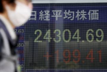 東証、午前終値は2万4367円 バブル後の終値最高値突破 画像1