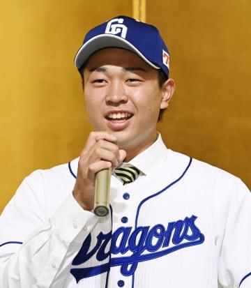 中日の新入団選手が記者会見 高橋「球界を代表する投手に」 画像1