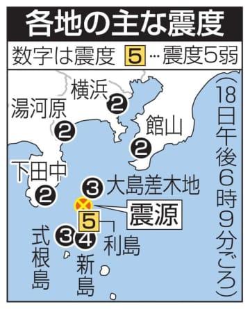 伊豆諸島・利島で震度5弱 M5.0、津波は起きず 画像1