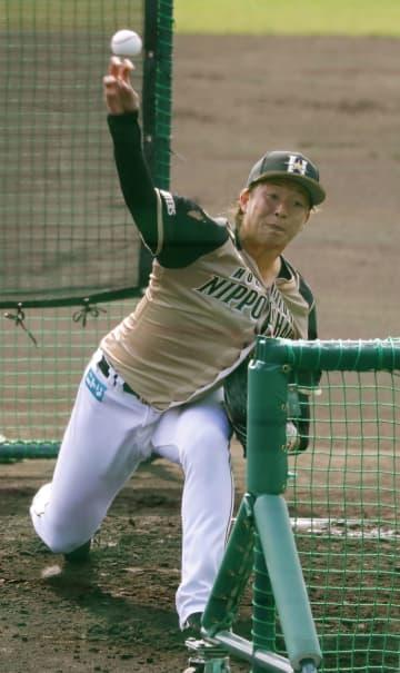 日本ハムの吉田が打撃投手 野村を相手に直球27球 画像1