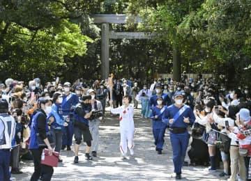 五輪トーチが愛知に到着 初の大都市、密回避に全力 画像1