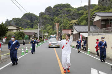 聖火、大分で「昭和の町」巡る 名勝地の耶馬渓も 画像1
