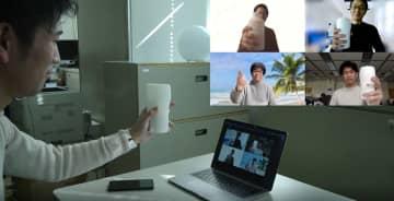 モニター越しに「乾杯」感覚 KDDIがグラス型端末を開発 画像1