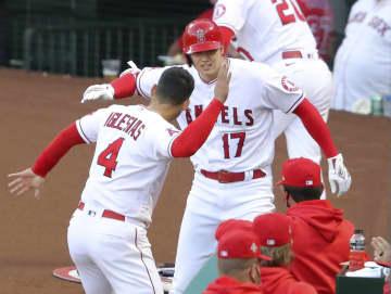 エンゼルス大谷、3打数2安打 インディアンス戦、1本塁打 画像1