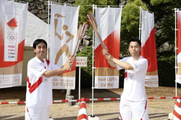 岡山城に聖火、リレー中止 緊急事態宣言下で代替行事 画像1