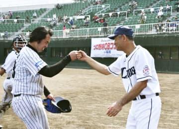 野球会場で「復興五輪」アピール プロOBチームが親善試合、福島 画像1