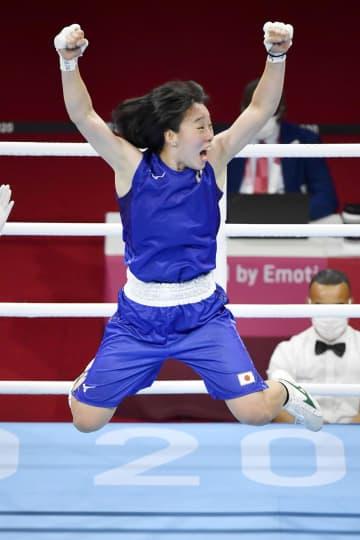 フェザー級入江聖奈が「金」 ボクシング女子初挑戦、初メダル 画像1