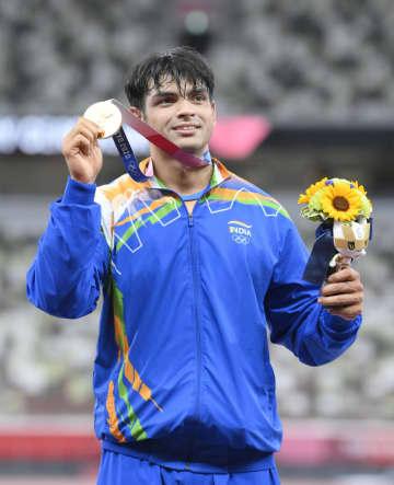 インド陸上で初の金メダル 男子やり投げ、23歳のチョプラ 画像1
