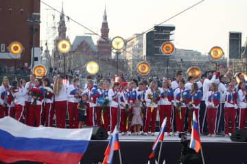 ロシア、五輪選手らを称賛 式典開催、国旗や国歌で歓迎 画像1