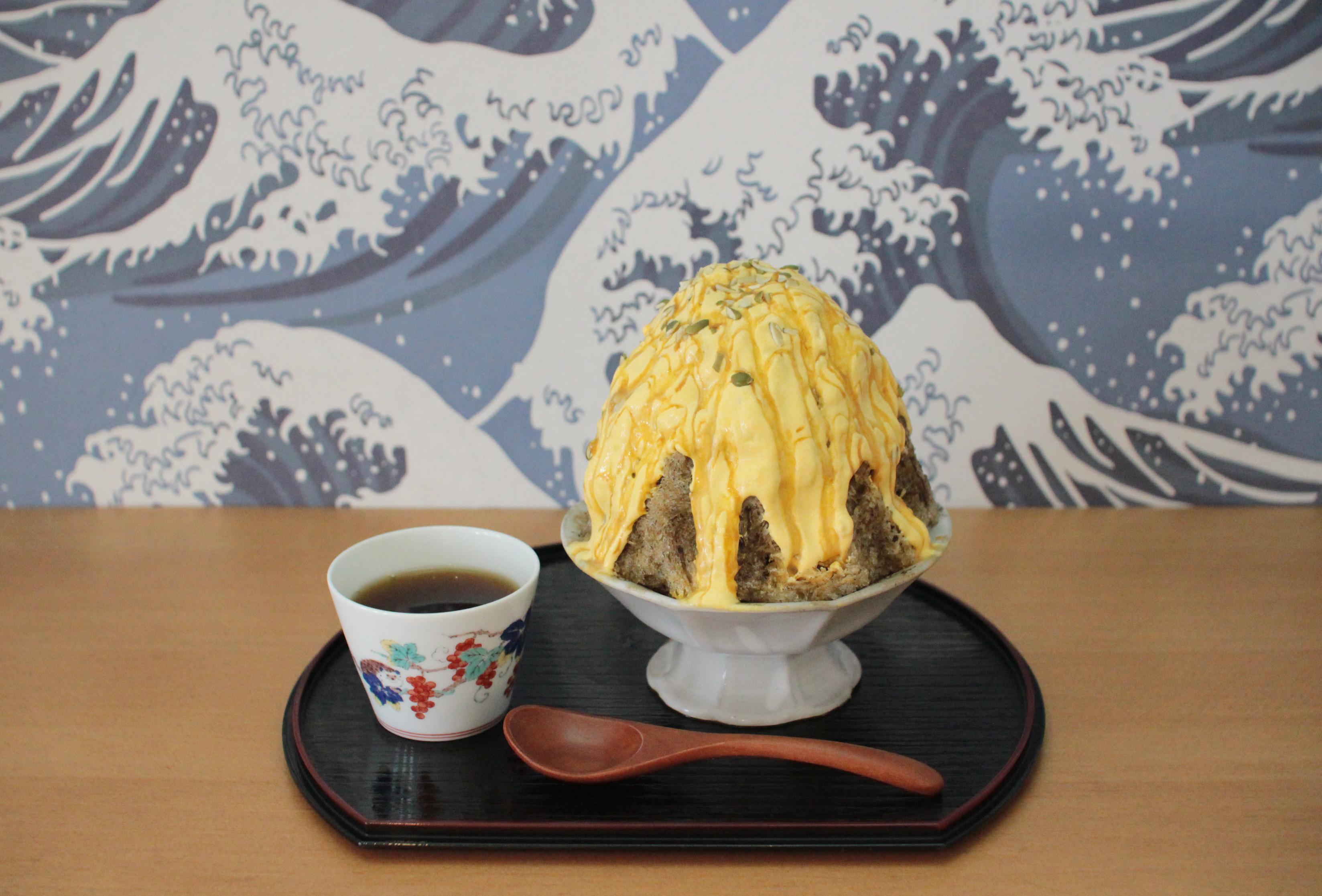 栗かぼちゃクリームとほうじ茶のかき氷(日本茶セット)