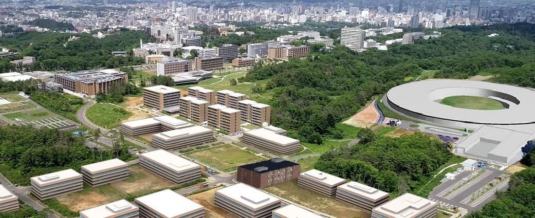 仙台市街地を望む東北大青葉山新キャンパス。次世代放射光施設などはCG。(東北大提供)