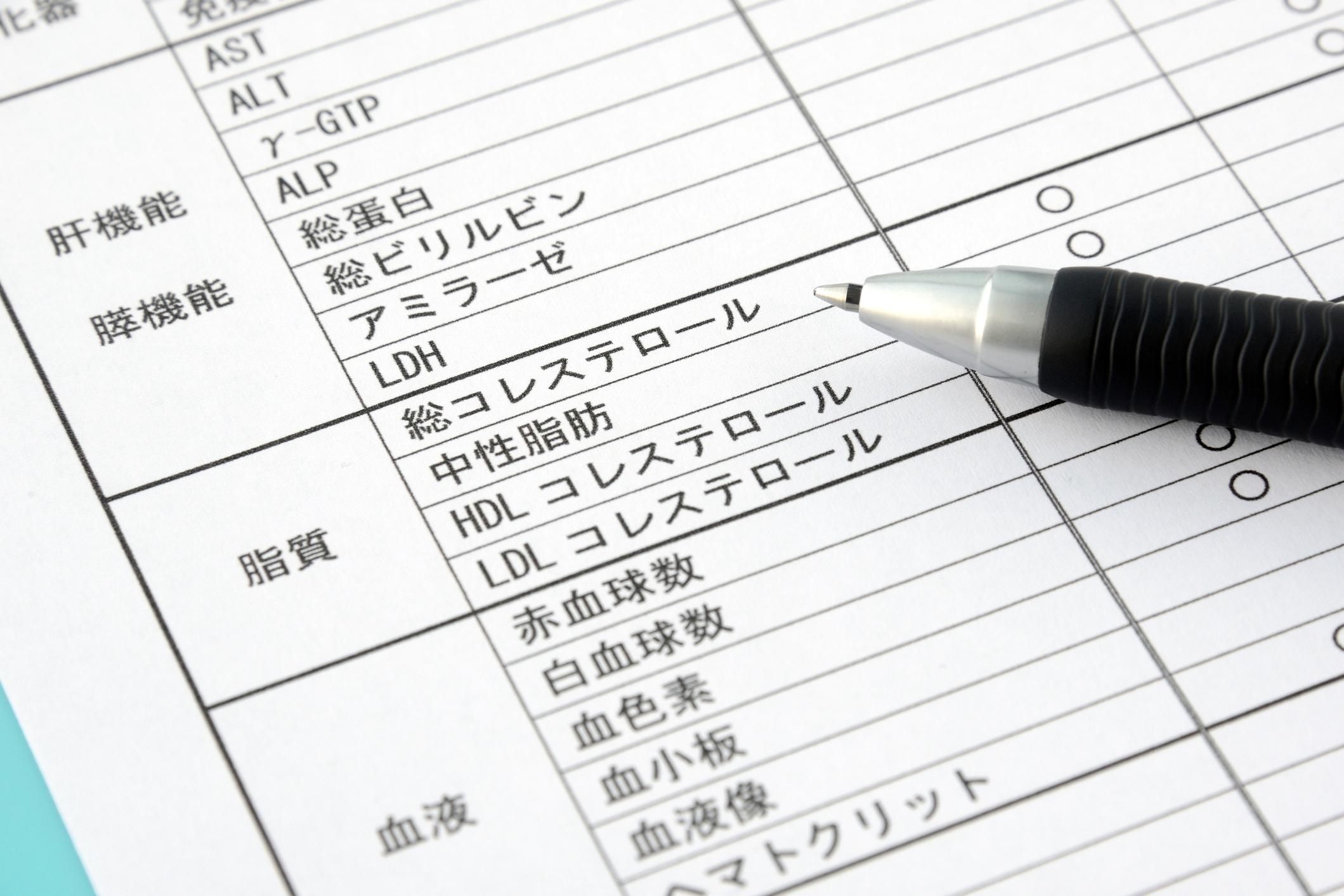 Medical examination sheet in Japanese