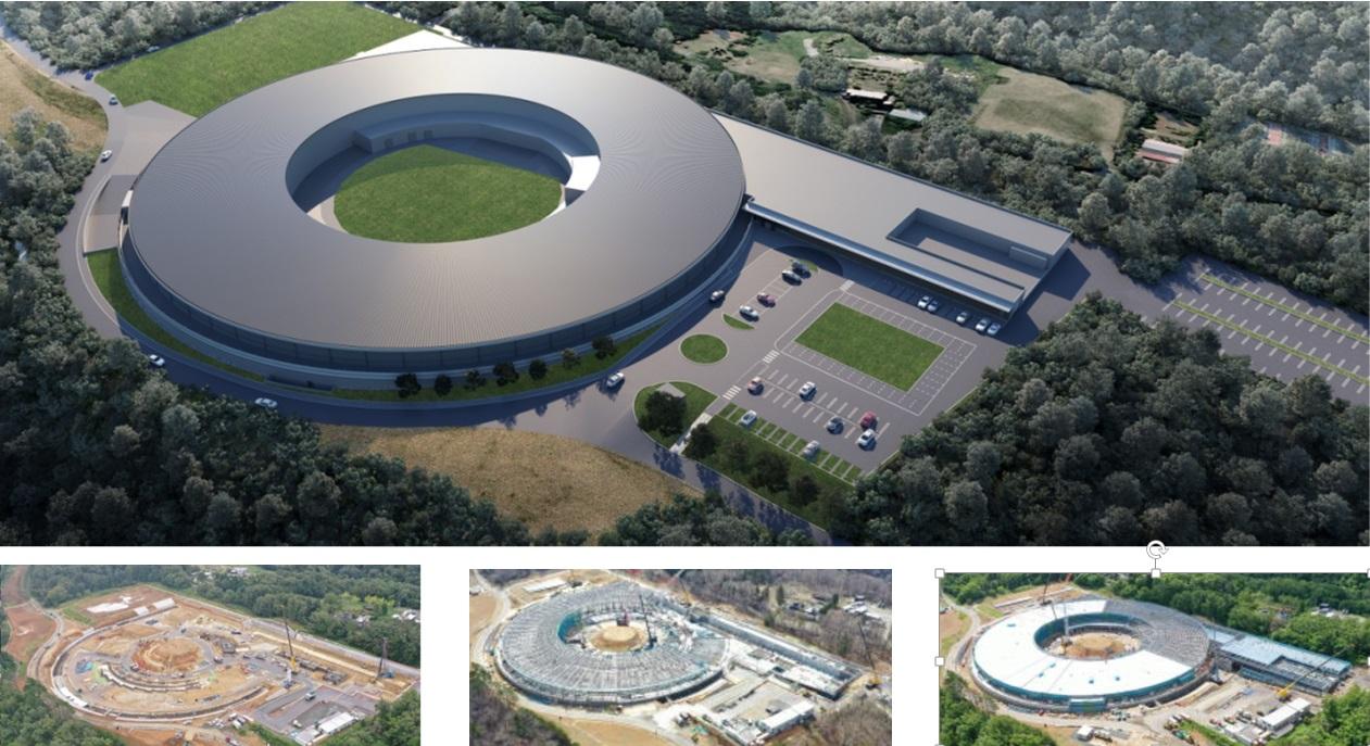 次世代放射光施設の完成予想図(上)と工事経過(下左から2020年9月29日、21年3月27日、同5月28日。光科学イノベーションセンター提供)。